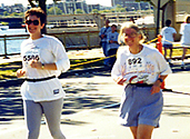 Becky and Leslie in the Tufts 10K